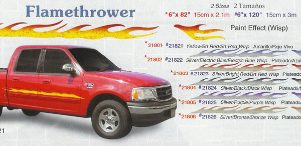 "Flamethrower 6"" x 82"" 6"" x 120"" Custom Vinyl Graphics"