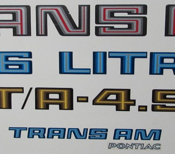 1978-80 Trans Am assorted decals in various colors.